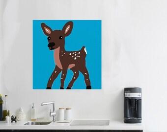 deer painting Deer artwork Deer Art Woodland creatures Deer Nursery art Deer gift canvas art Deer critter cute animal Deer Forest Friends