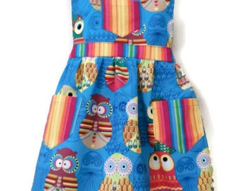 Owl Apron, Children's Apron, Toddler apron, Girls Apron, Baking Apron, Cooking Apron, Kids Apron, Little Girl Apron, Handmade Apron