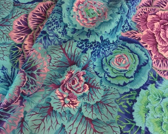 "Remnant 42""x44"" Kaffe Fassett Collective Fabric - Brassica in Blue - R253 100 PCT Quality Cotton Out of Print and Rare -Yardage"