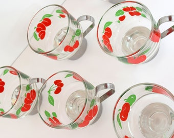 Set of 6 1980's style espresso glass cups with chrome handles and bright red & green fruit design