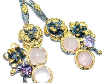 Rose Quartz, Amethyst Sterling Silver Earrings - weight 15.70g - dim L- 2 1 8, W - 5 8, T- 3 16 inch - code 12-lis-16-18