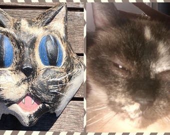 Custom Cat Portrait Folk Art/ 3d portrait/ pet memorial