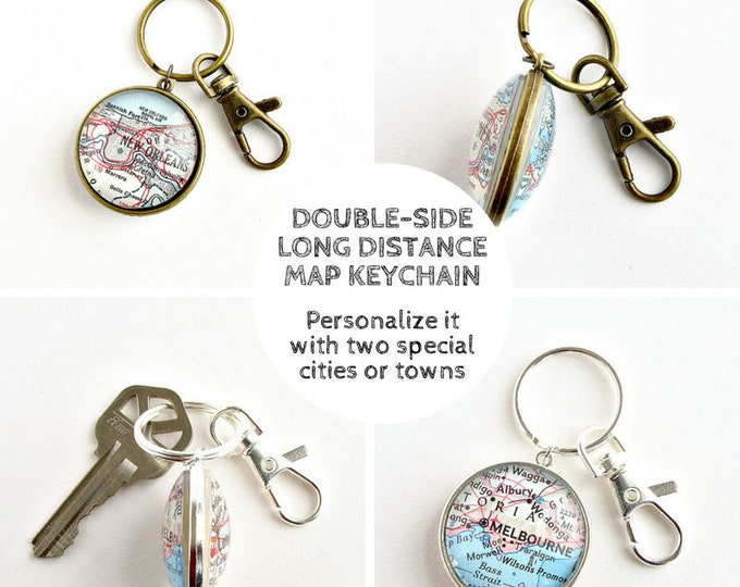 Featured listing image: Valentine's Gift for Long Distance, Boyfriend Gift, Long Distance Couples Gifts, Deployment Gift for Boyfriend, Two Sided Map Keychain, LDR