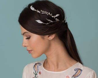 Bridal Hair Accessories, Wedding Fascinator, Silver Headband