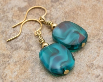 Teal And Gold Glass Earrings | Teal Green Earrings | Gold Earrings | Dangle Earrings | Green With Red Earrings | Cathy's Creations Jewelry