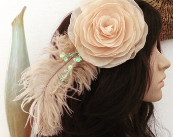Fantasy Festival Tribal Head Piece Flowers and Feathers Fascinator
