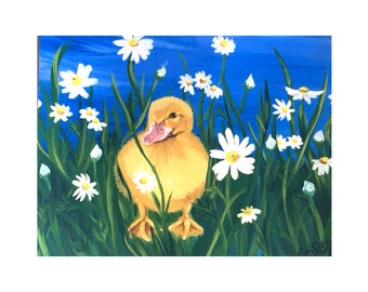 Duckling in the Daisies Print