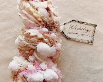 Heaven Sent puffy white pom trim pink gold tinsel twine pastel garland Novelty Fiber Yarn Sampler Bundle
