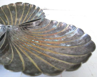 Shabby Vintage Silverplate Shell Server, Assemblage Art Supply, Salvaged Silver