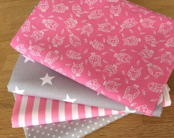 LITTLE OWLS Fat Quarter Bundle C 100% craft cotton Blenders Pink Grey