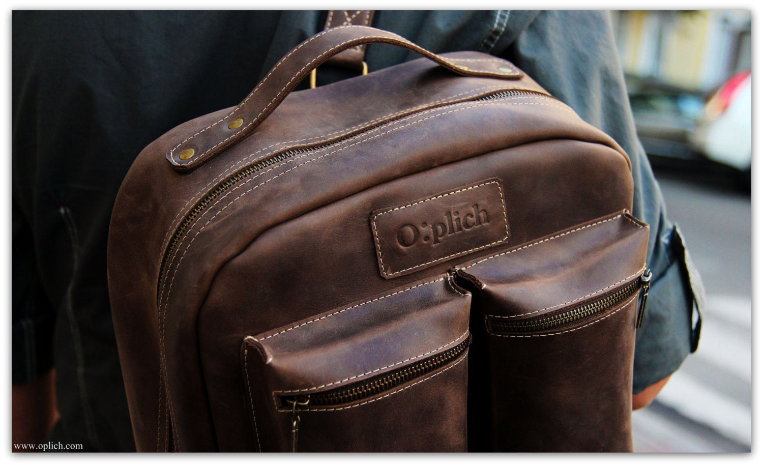 Waxed Leather Backpack/Coffee Brown Leather Backpack Men /