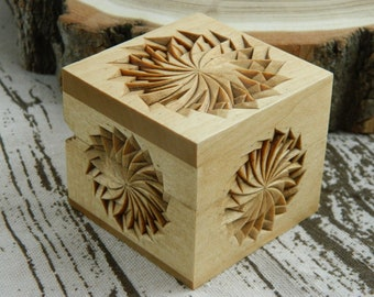 Carved jewelry box rustic home decor th anniversary wedding