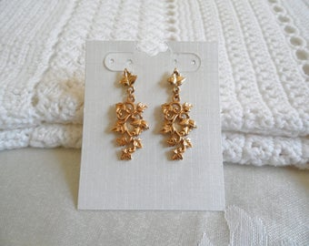 Gold Tone Leaf Vines Dangle Pierced Earrings