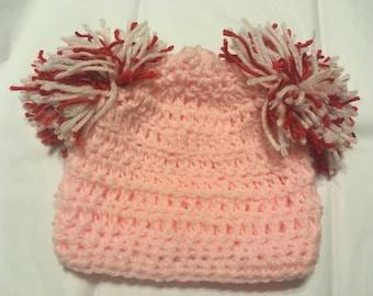 Pink Pom Pom Valentines Hat, Crocheted Baby Girl Pink Tobaggan with Pom Poms, Newborn Girl Crocheted Valentines Hat, Photo Prop Pom Pom Hat