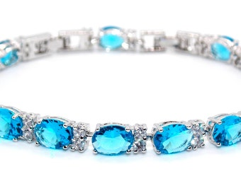 Silver London Blue Topaz 20.41ct Adjustable Tennis Bracelet