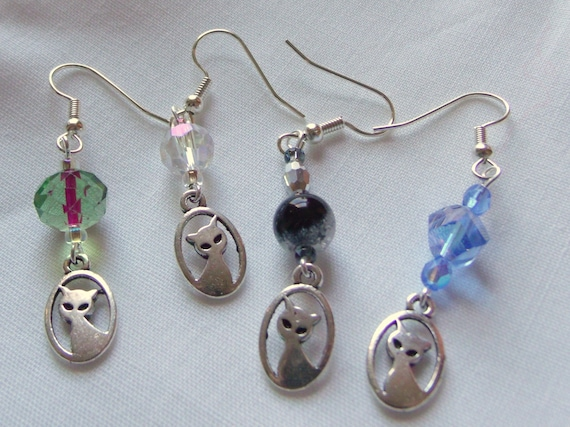 Cat charm earrings -  cat lover christmas gift - multiple colors -   short dangle earrings- crystal bead jewelry - pet - stocking stuffer