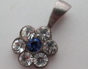 sterling silver 925 tiny MCC machine cut crystal rhinestone clear and sapphire blue flower pendant charm - s278