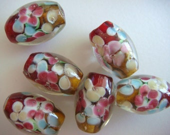 6 Red-yellow oval floral lampwork glass beads 16mm