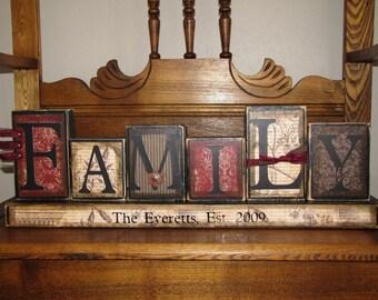 Customized Family Sign Word Blocks Word Art