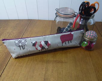 Sheep in tweeds knitting needle bag pouch in matt finish oilcloth fabric- Baa Baa Sheep red print