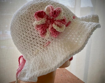 Cotton Sunhat with flower and tie, Chemo Hat, Summer Hat, Crochet