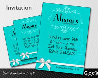 Blue Baby/Bridal Shower Invitation - Digital or Printed - New Baby - Birthday - Sweet Sixteen - Shower