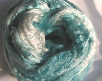 SILK Roving Sliver Top Fiber cultivated Mulberry Soft TEAL LUXURIOUS Finest Quality Hand Painted Top for Handspinning Crafts 2 ounces