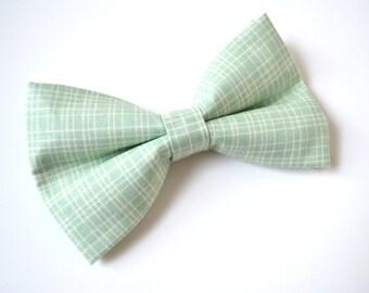 Mint Plaid bow tie, boy bow tie, baby bow tie, adult bow tie, men's bow tie,wedding bow tie, mint bow tie