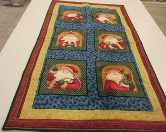 Quilted Santa Wall Hanging or Table Topper with Fabric designed by Nancy Halvorsen for Benartex