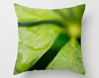 Photo Pillow Cover, Green Home Decor, Macro Photography, Indoor Outdoor, Throw Pillow, Porch Decorations, Jamaica Greenery, Rain Drop Flower