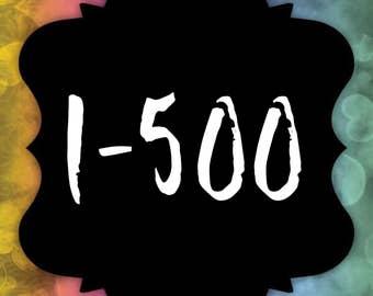 Facebook Live Sale Number Cards - Reverse Numbers 1-500