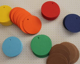 100 round tag Hole punched Gift tags Price tag cardstock shop tag