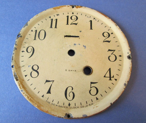 "1  5 1/2"" New Haven Clock Co. Painted Steel Clock Dial for your Clock Projects, Steampunk Art..."