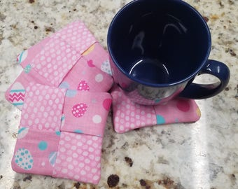 """Easter Coasters, Fabric, Set of 4, Approx 4"""""""