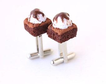 Cufflinks for Dad- Brownie & Ice cream Cuff Links- Polymer clay food Jewelry