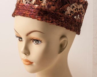 1960s ladies pheasant feather pillbox hat. Clean, crisp, and gorgeous!