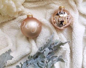 Custom Gold Ornament- MEDIUM Glass Ornament, Calligraphy Ornament, Handlettered Ornament, Gold Ornament, Christmas Gift, Christmas Decor