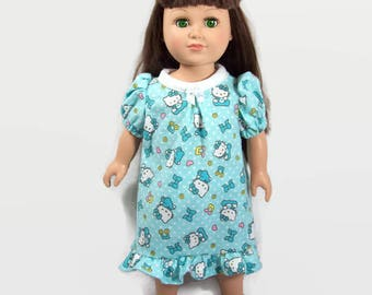 Pastel Turquoise Kitten Nightgown - Made to Fit 18 Inch Dolls Like American Girl Doll Clothes