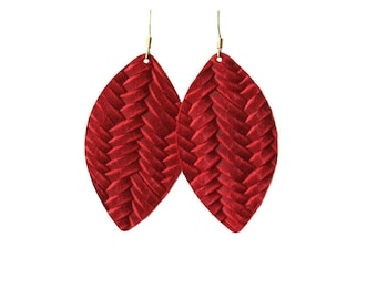 Deep Red Weave Leather Drop Earrings, the leather drop, red earrings, red leather, leather earrings, leather drop earrings, tear drop earri