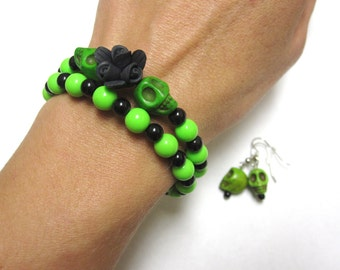 Day Of The Dead Bracelet And Earrings Set Sugar Skull Green Black Flower