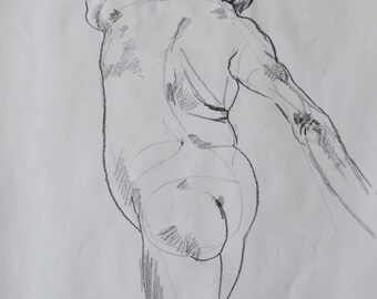 Charcoal life drawing of a man with his back turned