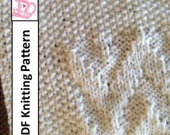 Baby Blanket Knitting Pattern, PDF Knitting Pattern - Chevron Baby Blanket/throw/afghan 28 x 36