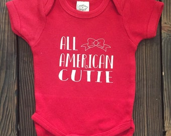 All American Cutie onesie/toddler tee. Summer. July 4th outfit. Beach. Lake