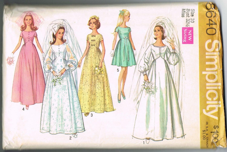 1960s Wedding Dress Pattern, Bridesmaid Dress Pattern, Empire Waist ...