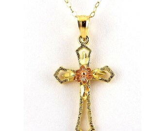 14K Yellow & Pink Rose Gold Cross Pendant with Flower, Gold Necklace