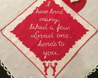Vintage Hankie - Red and White Lines with a Sweet Saying