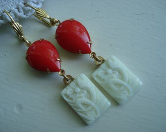 Vintage Art Deco Opaque Red Czech Jade  and White Carved Glass Gold Earrings