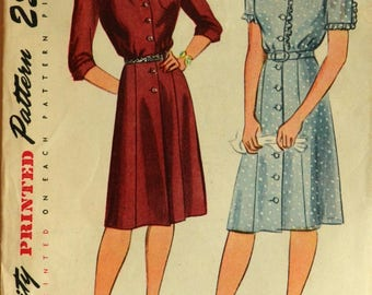 Uncut 1940s Simplicity Vintage Sewing Pattern 2160, Size 18; Misses' and Women's Dress