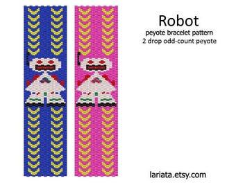 Robot - 2 Drop Peyote Bracelet Pattern Odd-Count - INSTANT DOWNLOAD