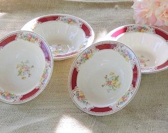 Mismatched Homer Laughlin Dessert Bowls Set of 4 D42 N6, Wedding Bowls Tea Party Bowls Ca. 1940's Replacement China